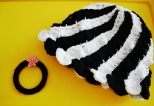 Black n White Cap with Crocheted Bangle