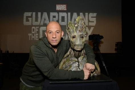Vin Diesel with Groot - Guardians Of The Galaxy
