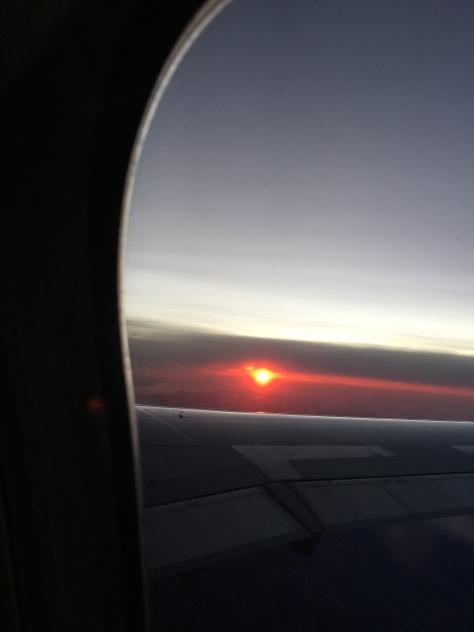 Rising Sun From Plane Window