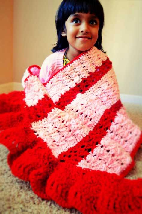 Tisha Singh in Crochet Shawl