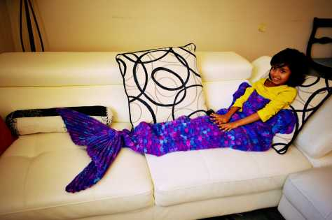 Tisha Singh modeling for my Crochet Mermaid Blanket
